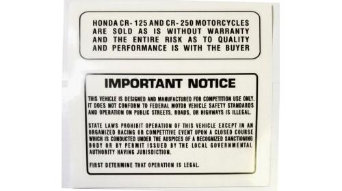 Honda CR125M | CR250M Tank Warning Decals
