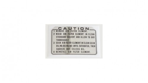 Air Filter Element Care Warning Decal