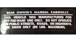 1974-1975 MR50 Read Owner's Manual Warning Decal