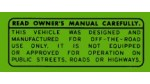 1970-1971 QA50 Read Owner's Manual Warning Decal